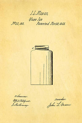 Mason Jars Photograph - Mason Jar Patent Art 1858 by Ian Monk