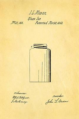 Mason Jars Photograph - Mason Jar Patent Art 1858 by Ian Monk