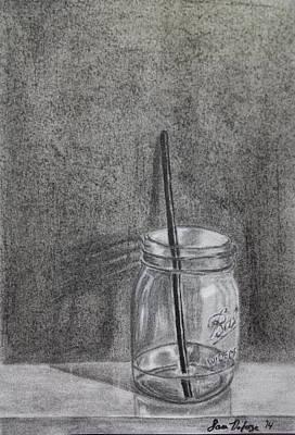 Glass Table Reflection Drawing - Mason Jar by Sara DeForge