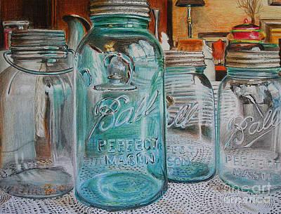 Mason Jars Art Print by Jackie Bryant