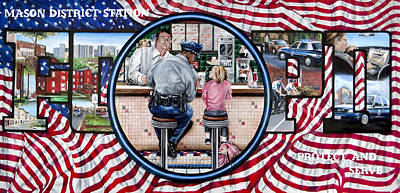 To Serve And Protect Painting - Mason Mural by John Kiernan