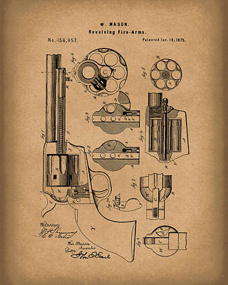 Drawing - Mason Revolving Firearm 1875 Patent Art Brown by Prior Art Design
