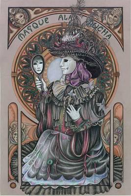 Mucha Drawing - Masque Ala Mucha by Kathleen Bischoff