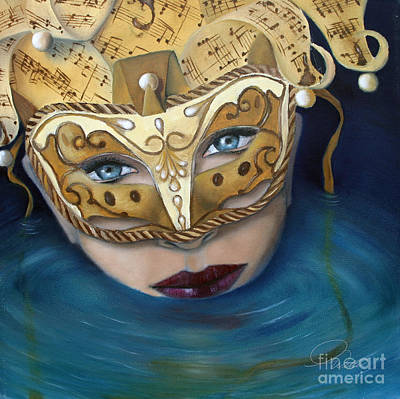 Painting - Masquemermaid by A Wells Artworks