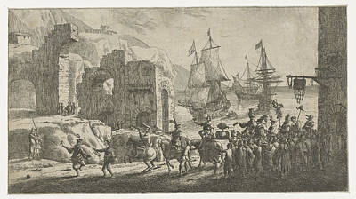 Masquerade At A Port, Attributed To Reinier Nooms Art Print