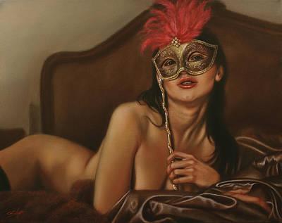 Sepia Chalk Painting - Masquerade I by John Silver