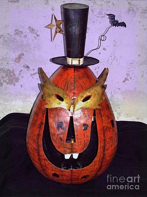Masquerade Mask Pumpkin - Halloween Art Art Print by Ella Kaye Dickey