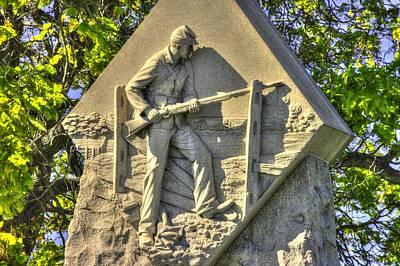 Massachusetts At Gettysburg 1st Mass. Volunteer Infantry Skirmishers Close 1 Steinwehr Ave Autumn Art Print by Michael Mazaika