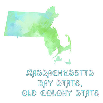 Massachusetts - Bay State - Old Colony State - Map - State Phrase - Geology Art Print by Andee Design