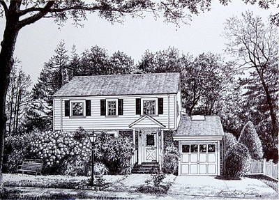 Massachusetts House Drawing Art Print