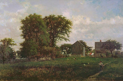 New England Barn Painting - Massachusetts Landscape, 1865 by George Snr. Inness