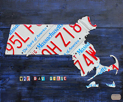 England Mixed Media - Massachusetts License Plate Map by Design Turnpike