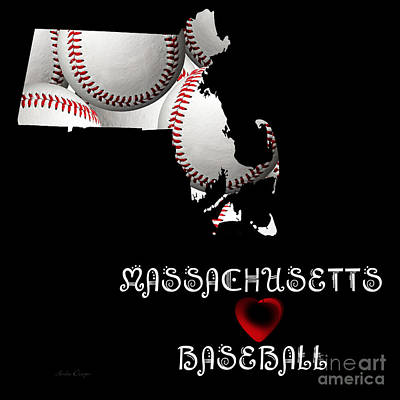 Andee Design White Digital Art - Massachusetts Loves Baseball by Andee Design