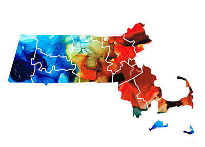 Husky Painting - Massachusetts - Map Counties By Sharon Cummings by Sharon Cummings