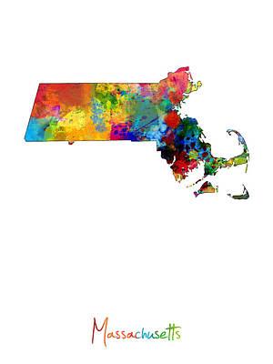 Geography Digital Art - Massachusetts Map by Michael Tompsett