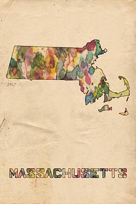 Painting - Massachusetts Map Vintage Watercolor by Florian Rodarte