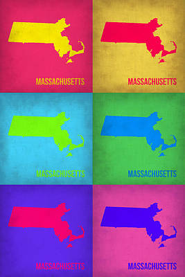 Modern Poster Painting - Massachusetts Pop Art Map 1 by Naxart Studio