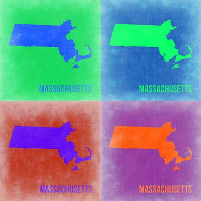 Modern Poster Painting - Massachusetts Pop Art Map 2 by Naxart Studio