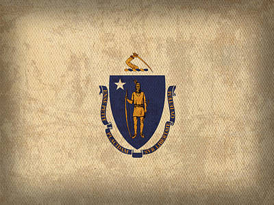 Massachusetts Mixed Media - Massachusetts State Flag Art On Worn Canvas by Design Turnpike