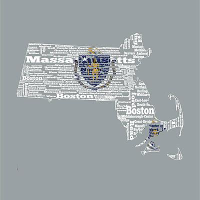 Harvard Digital Art - Massachusetts State Flag Word Cloud by Brian Reaves