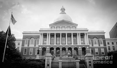 Photograph - Massachusetts State House Black And White by Andrea Anderegg