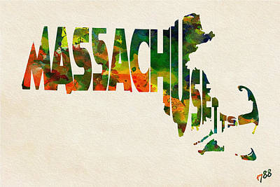 Painting - Massachusetts Typographic Watercolor Map by Inspirowl Design