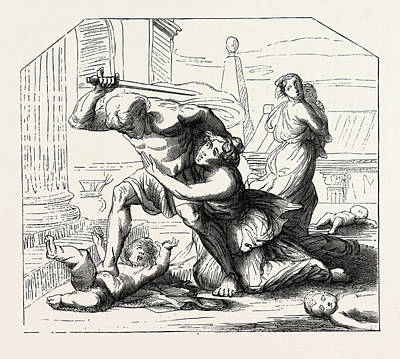Primitive Drawing - Massacre Of The Innocents By Nicolas Poussin Primitive by Litz Collection