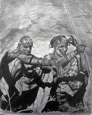 Afro Drawing - Massai Warriors by The Art of DionJa'Y