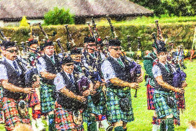 Digital Art - Massed Pipe Bands Brodick Highland Games by Liz Leyden