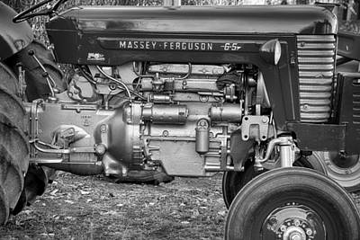 Photograph - Massey - Feaguson 65 Engine Black And White by James BO  Insogna