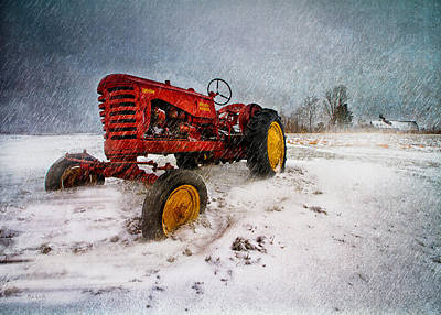 Snowscape Photograph - Massey Harris Mustang by Bob Orsillo