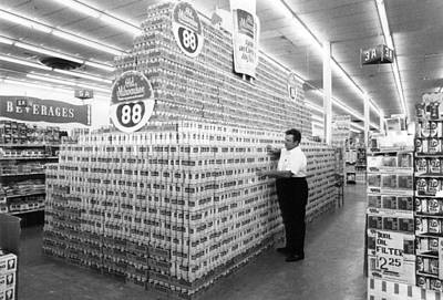 Grocery Store Photograph - Massive Beer Display by Retro Images Archive