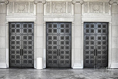 Entrance Memorial Photograph - Massive Doors by Olivier Le Queinec