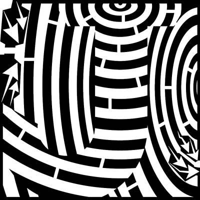 Alphabet Mazes Drawing - Massive J Letter Maze  by Yonatan Frimer Maze Artist