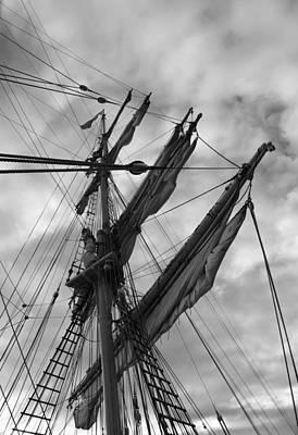 Mast And Sails Of A Brig - Monochrome Original