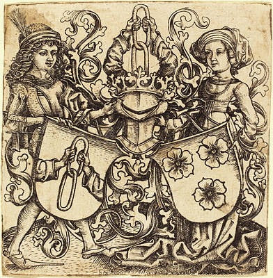 Master Bg German, Active C. 1470-1490, Arms Of Rohrbach Art Print by Quint Lox