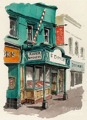 Painting - Master Butcher  Frank Doyle Main St Bray Wicklow by Val Byrne