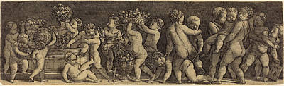 Grapes Drawing - Master Ib After Raphael German by Quint Lox