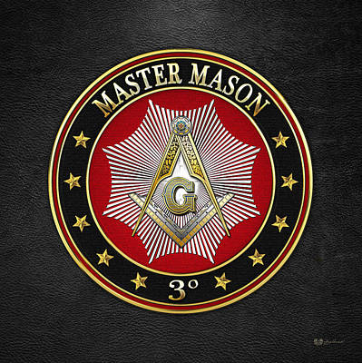 Digital Art - Master Mason - 3rd Degree Square And Compasses Jewel On Black Leather by Serge Averbukh