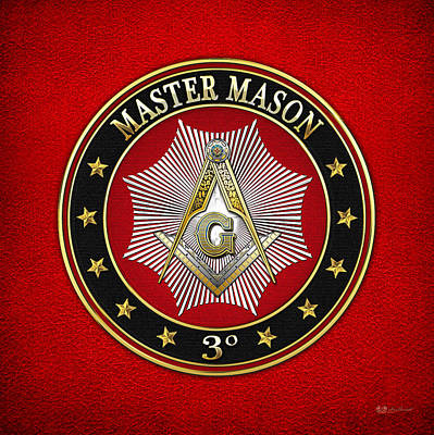 Digital Art - Master Mason - 3rd Degree Square And Compasses Jewel On Red Leather by Serge Averbukh