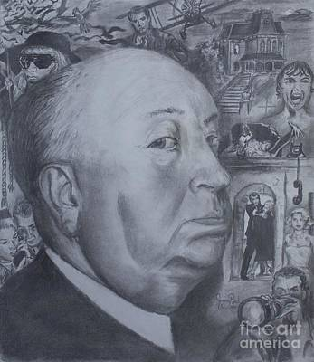 Films By Alfred Hitchcock Drawing - Master Of Suspense by Jeremy Reed