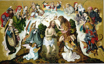 Baptism Painting - Master Of The Saint Bartholomew Altar, The Baptism Of Christ by Litz Collection