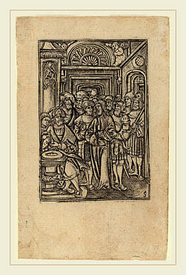 Hand Engraving Drawing - Master S Flemish, Active 1505-1520, Pilate Washing His Hands by Litz Collection