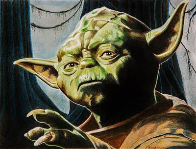 Swamp Drawing - Master Yoda by Brian Broadway