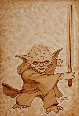 Art Print featuring the painting Master Yoda Jedi Fight Beer Painting by Georgeta  Blanaru