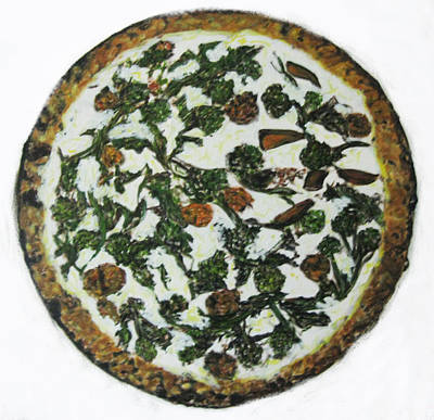 Broccoli Painting - Masterpiece Broccoli Di Rappeand Sausage Pizza   by Pacifico Palumbo