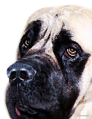 Mastiff Painting - Mastiff Dog Art - Sad Eyes by Sharon Cummings