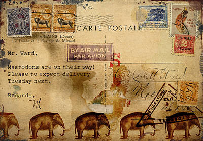Postal Photograph - Mastodons Are On Their Way by Carol Leigh