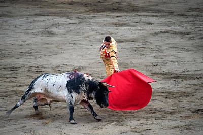 Matador And A Bull In A Bullring, Lima Art Print by Panoramic Images