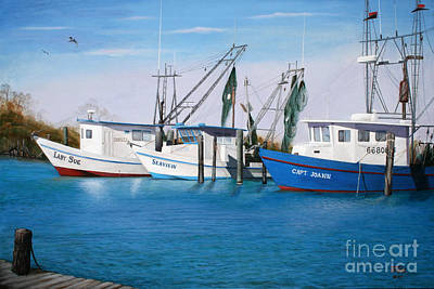 Painting - Matagorda Boats by Jimmie Bartlett